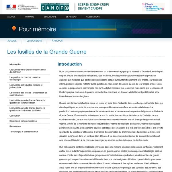 Introduction du dossier «Les fusillés de la Grande Guerre»-Pour mémoire-CNDP