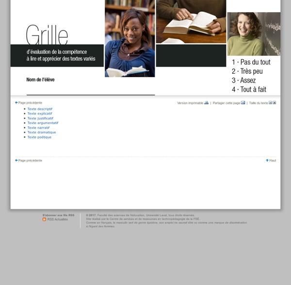 Grille d'évaluation de la compétence à lire et apprécier des textes variés pour le 2e cycle du secondaire - Introduction - Portail pour l'enseignement du français