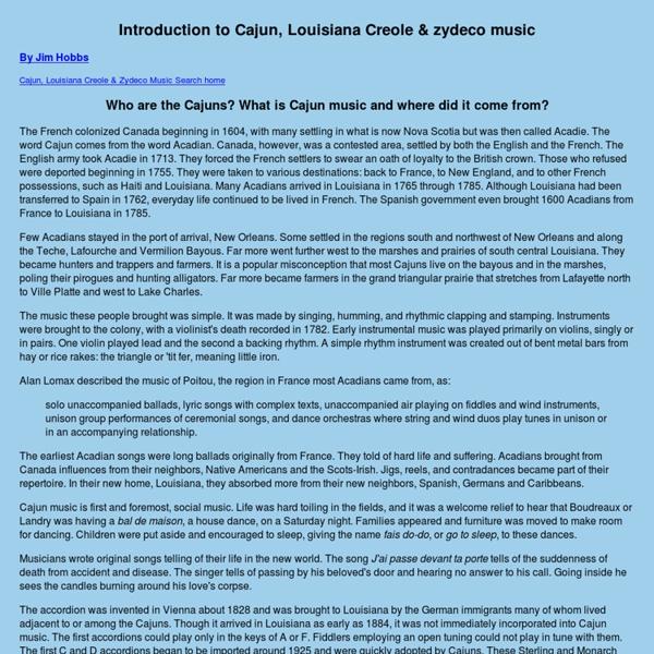 Introduction to Cajun, Louisiana Creole & zydeco music