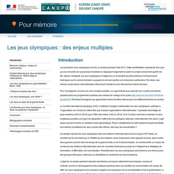 Introduction du dossier «Les jeux olympiques : des enjeux multiples»-Pour mémoire-CNDP