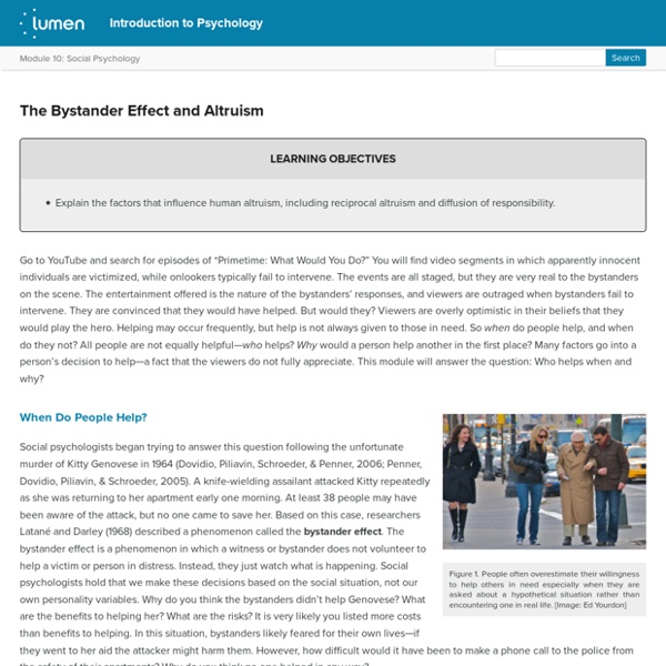 The Bystander Effect and Altruism