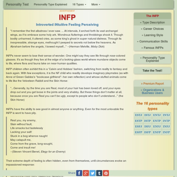 INFP Introverted iNtuitive Feeling Perceiving