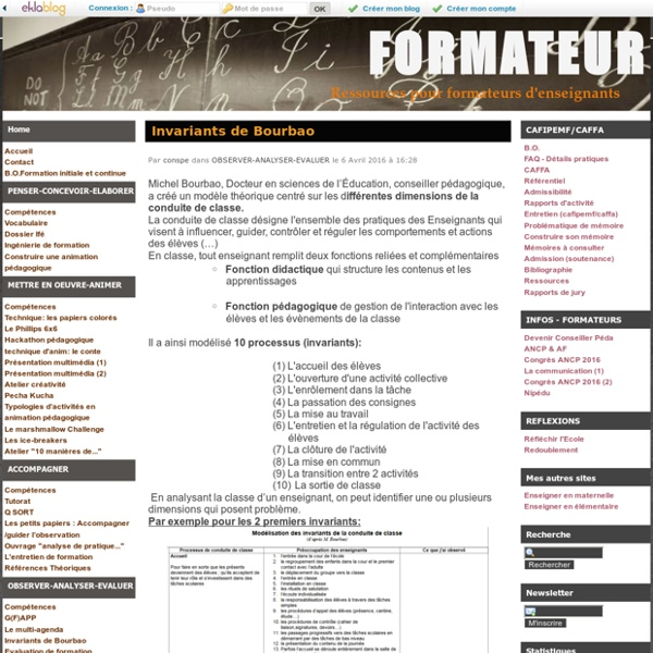 Invariants de Bourbao - FORMATEUR