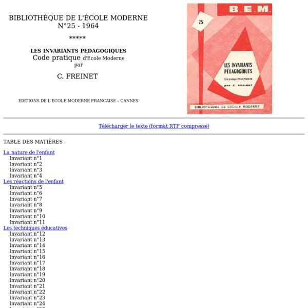 BEM 25 : Les invariants pédagogiques : code pratique d'école moderne
