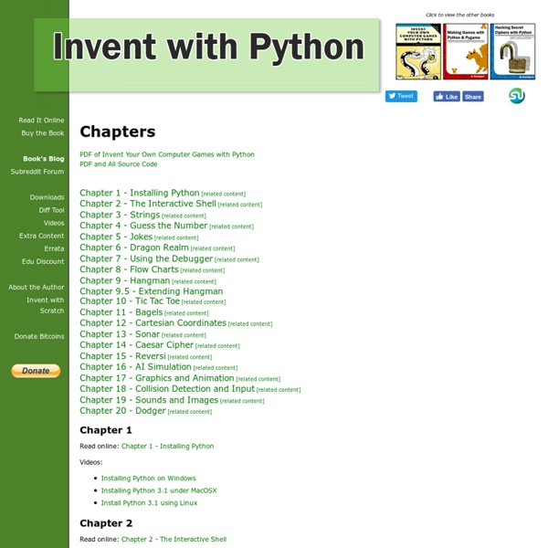 Invent Your Own Computer Games with Python - Learn how to program with a free ebook programming tutorial