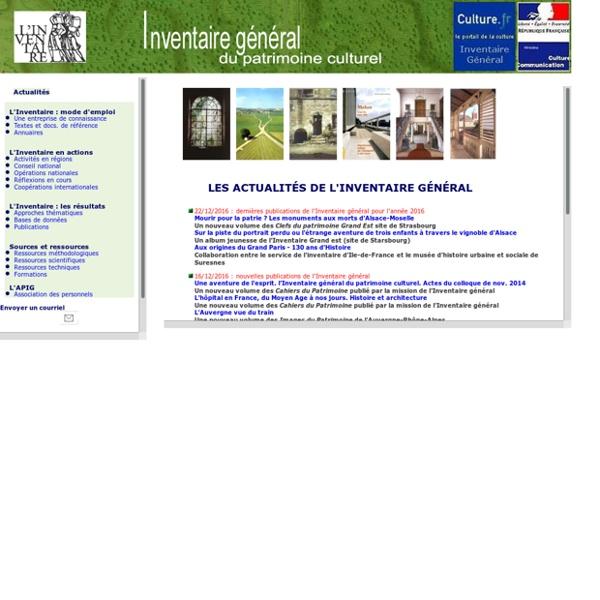 Inventaire général du patrimoine culturel : page d'accueil - site ministériel