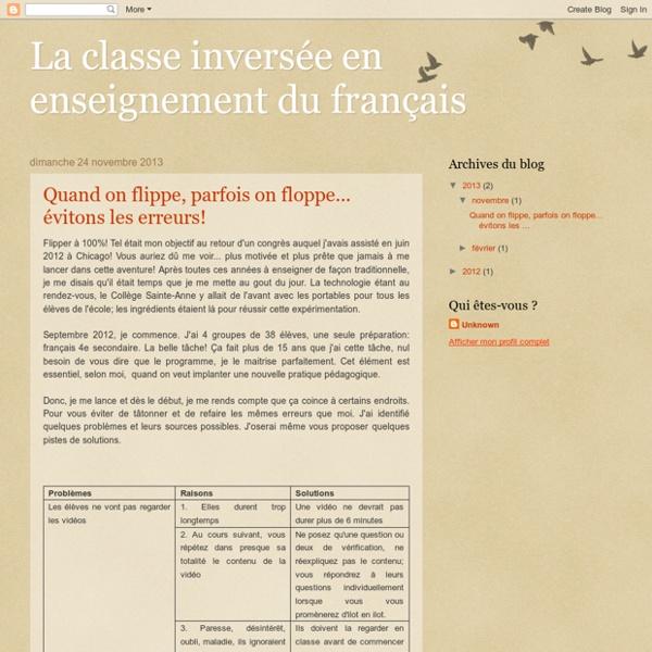 La classe inversée en enseignement du français
