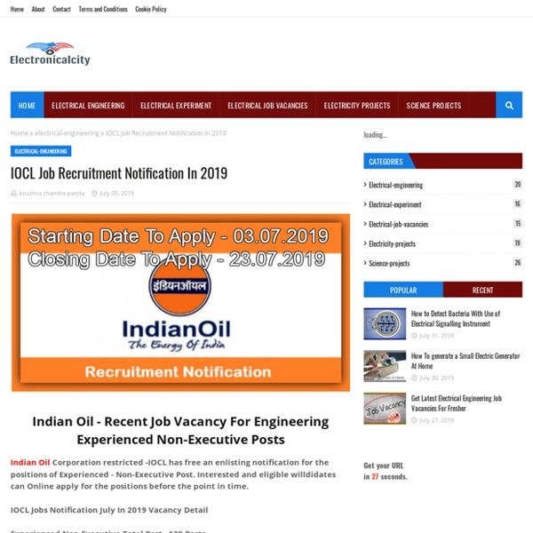 IOCL Job Recruitment Notification In 2019