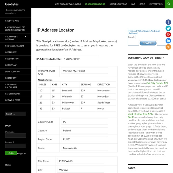 IP Address Locator - Enter an IP address to find its location -