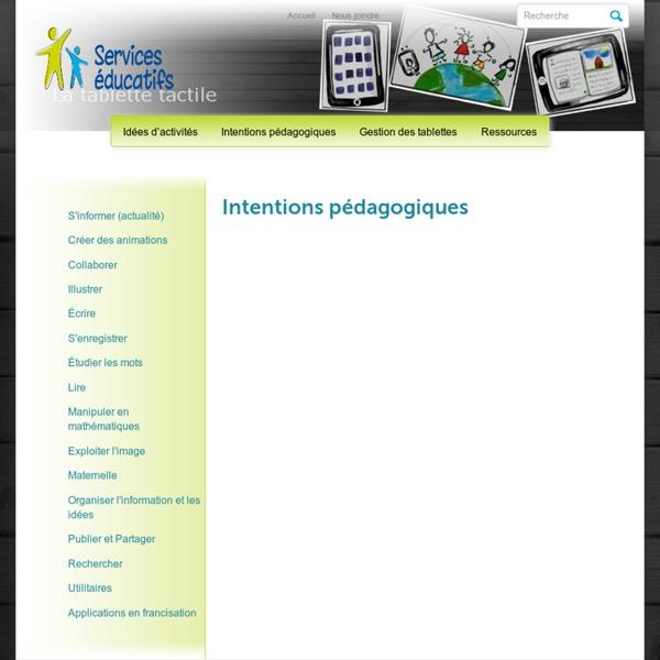 iPad » Intentions pédagogiques
