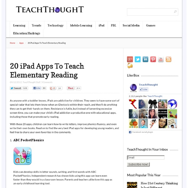 20 iPad Apps To Teach Elementary Reading