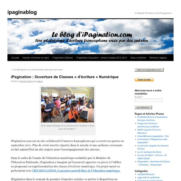 iPagination : Ouverture de Classes « d'Ecriture » Numérique