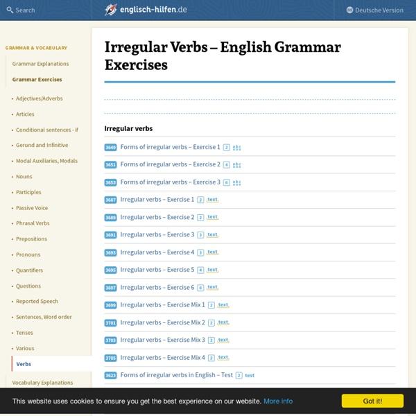 Irregular Verbs - Grammar Exercises