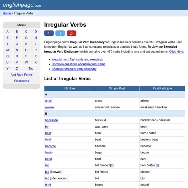 Irregular Verb Page