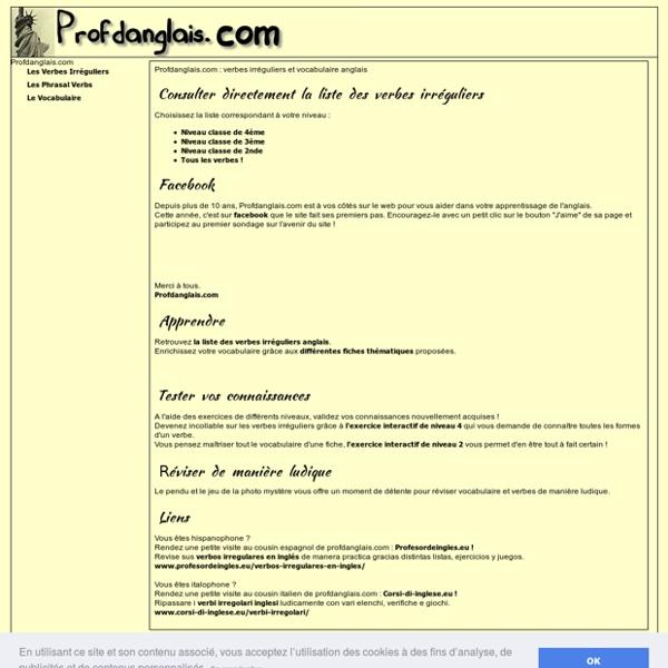 Verbes irréguliers et vocabulaire anglais - Profdanglais.com