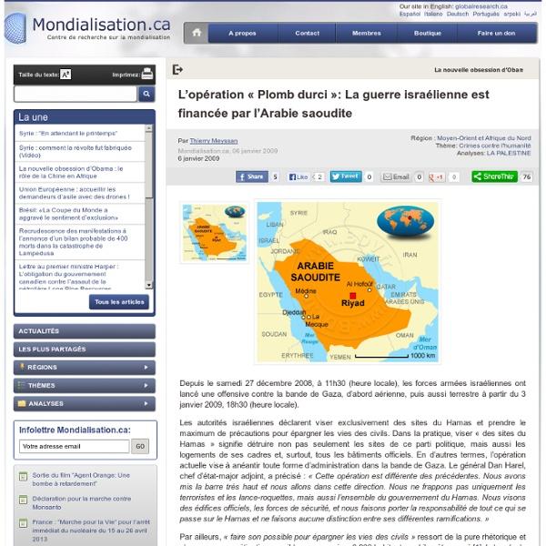 L'opération « Plomb durci »: La guerre israélienne est financée par l'Arabie saoudite