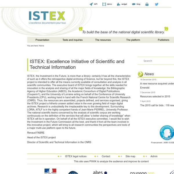 ISTEX - l'excellence documentaire pour tous