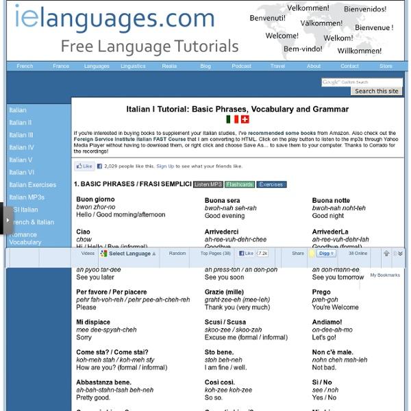 Italian I Tutorial: Basic Phrases, Vocabulary and Grammar