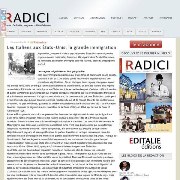 Les Italiens aux États-Unis, la grande immigration