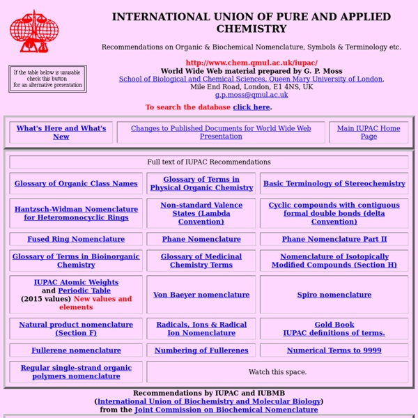 IUPAC Nomenclature Home Page