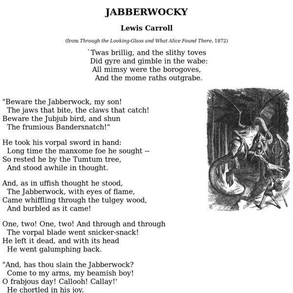 an analysis of the poem jabberwocky by lewis caroll That is exactly what lewis carroll did in this poem called nonsense jabberwocky analysis lewis carroll critical analysis of poem, review school overview.
