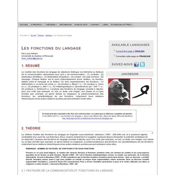 Roman Jakobson : Les fonctions du langage