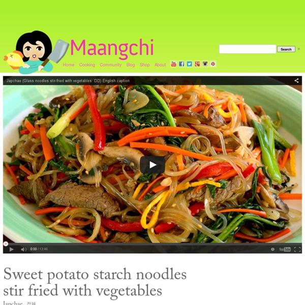 Korean recipes: Japchae (stir fried noodles with vegetables)