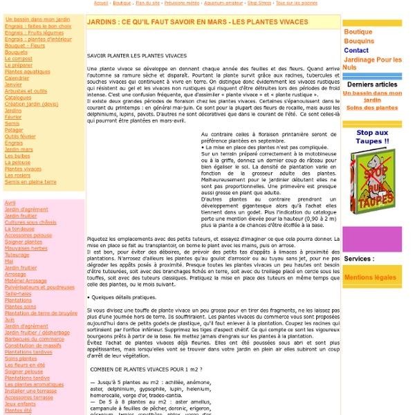 Tout savoir sur le jardinage - Plantes vivaces - www.astuces-jardins.com