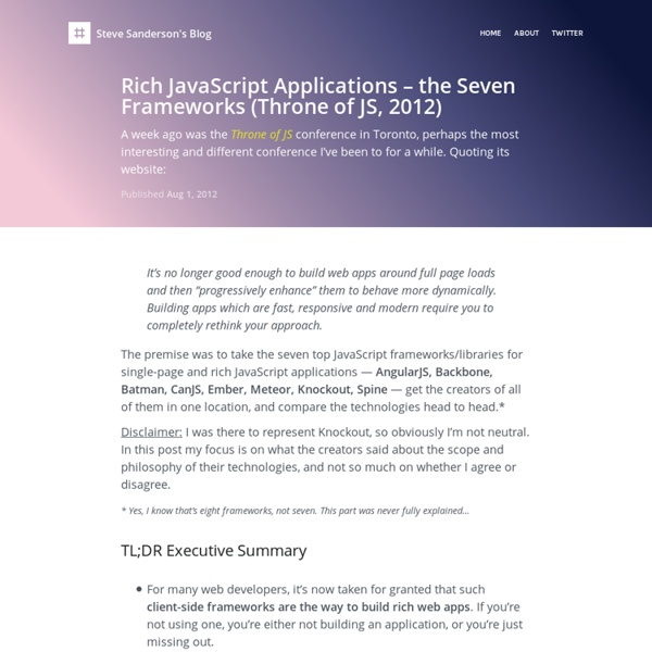 Rich JavaScript Applications – the Seven Frameworks (Throne of JS, 2012)