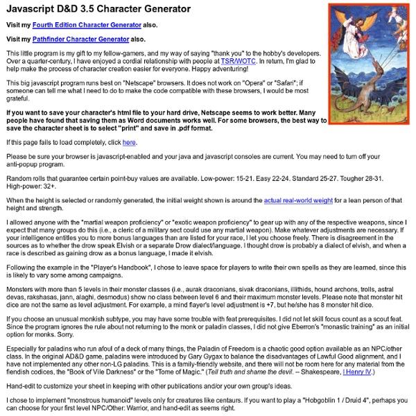 Javascript D&D 3 5 Character Generator | Pearltrees