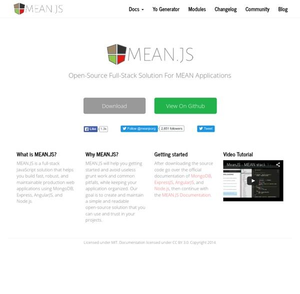 MEAN.JS - Full-Stack JavaScript Using MongoDB, Express, AngularJS, and Node.js