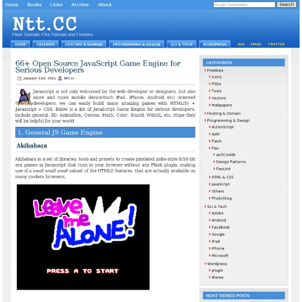 66+ Open Source JavaScript Game Engine for Serious Developers