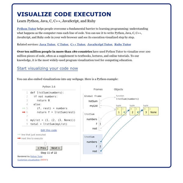 Online Python Tutor - Learn programming by visualizing code execution