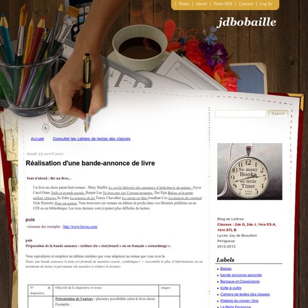 Jdbobaille: Réalisation d'une bande-annonce de livre