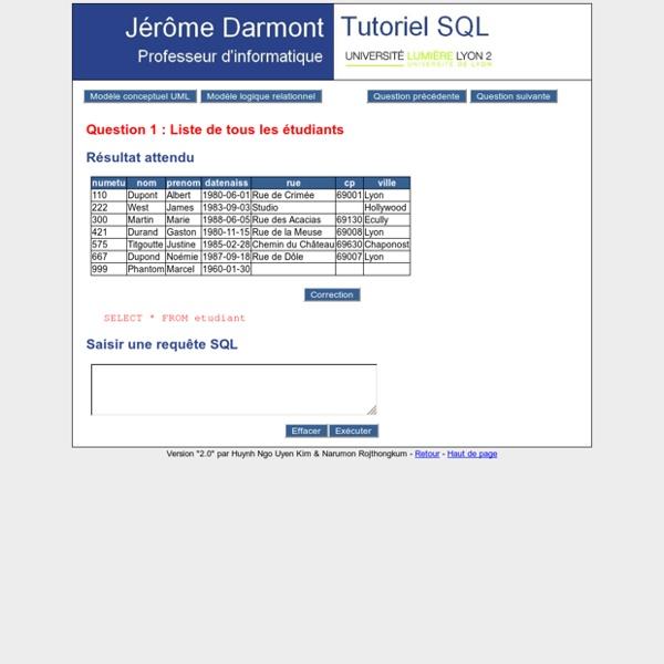 Jérôme Darmont - Tutoriel SQL