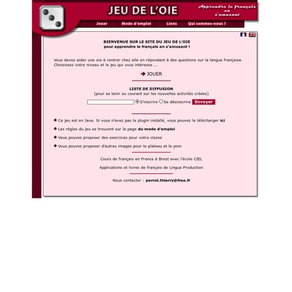 Jeu de l'oie pour apprendre étudier le français
