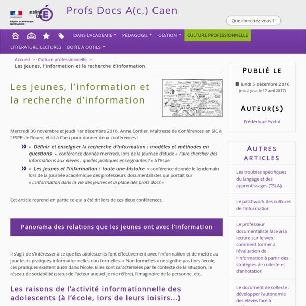 Les jeunes, l'information et la recherche d'information - Profs Docs A(c.) Caen