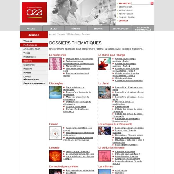 Dossiers thématiques du CEA Commissariat à l'Energie atomique et aux énergies alternatives