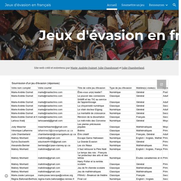 Jeux d'évasion en français