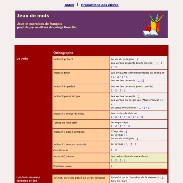 Orthographe, grammaire et vocabulaire - Collège Germillac