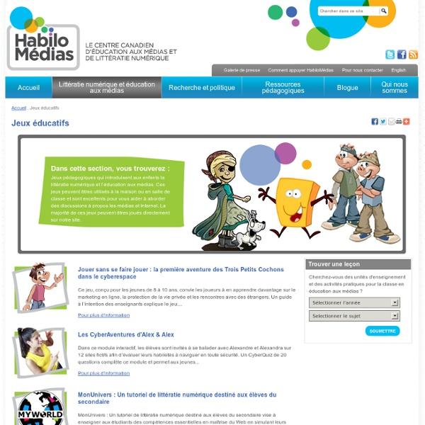 Jeux éducatifs litératie numérique