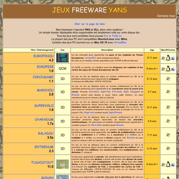 Jeux FreeWare Yans