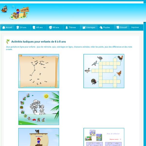 jeux en ligne pour enfants de 6 10 ans tipirate jeux et activit s pour enfants pearltrees. Black Bedroom Furniture Sets. Home Design Ideas