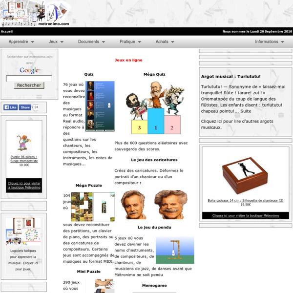 Jeux en ligne sur le thème de la musique