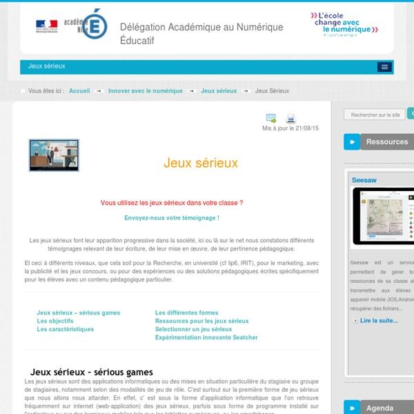 Jeux Sérieux - Jeux sérieux - Innover avec le numérique - DANE Nice