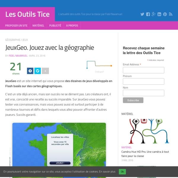 JeuxGeo. Jouez avec la géographie – Les Outils Tice