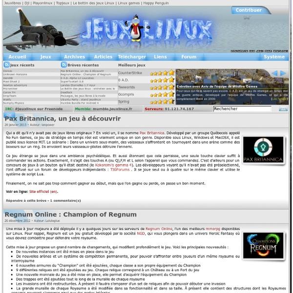 Le site des jeux pour linux - Actualités