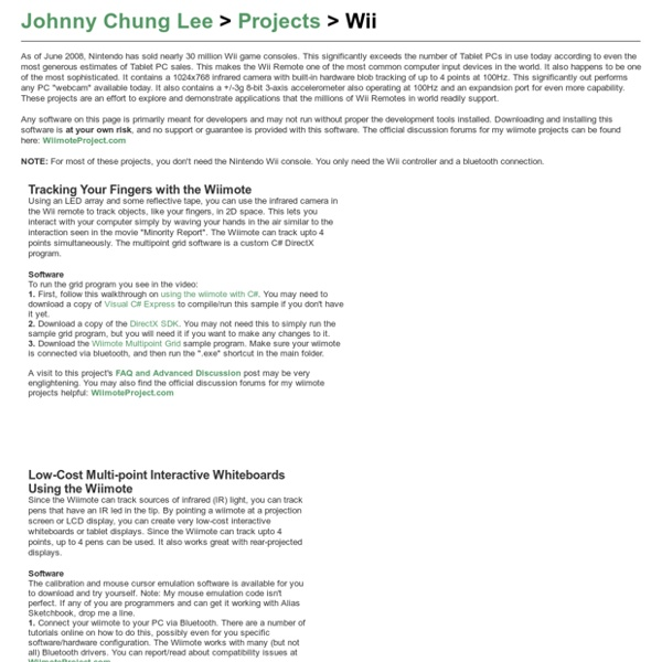 Johnny Chung Lee - Projects - Wii