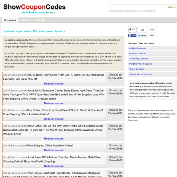 Josabank coupon codes - 20% online promo discounts