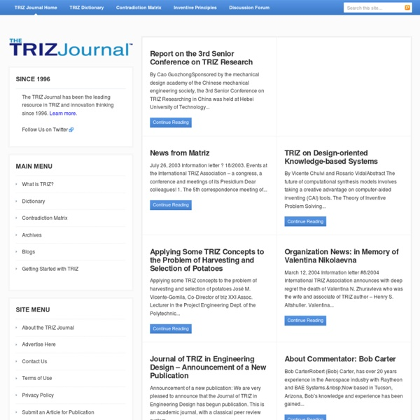 The TRIZ Journal - For people interested in the TRIZ methods of creativity and innovation